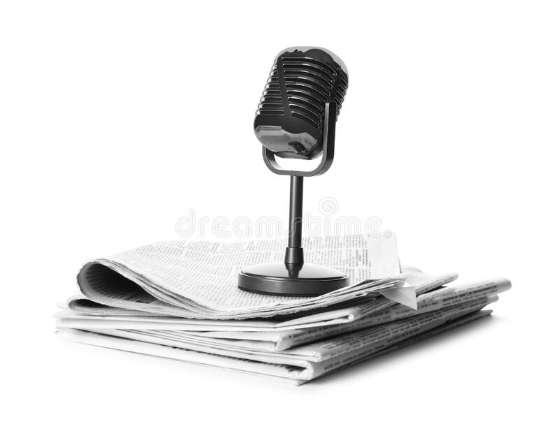 Newspapers and vintage microphone on white. Journalist`s work. Newspapers and vintage microphone isolated on white. Journalist`s work royalty free stock photos