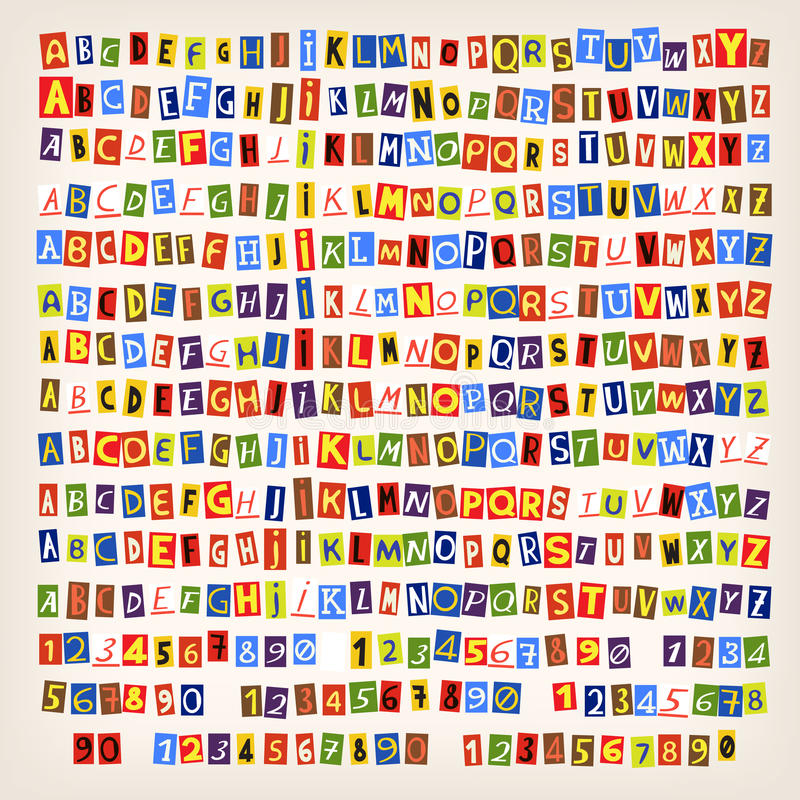 Newspeper cut letters. Set of colorful newspaper cut letters. 14 styles of letters. You can combine an alphabet in one style vector illustration