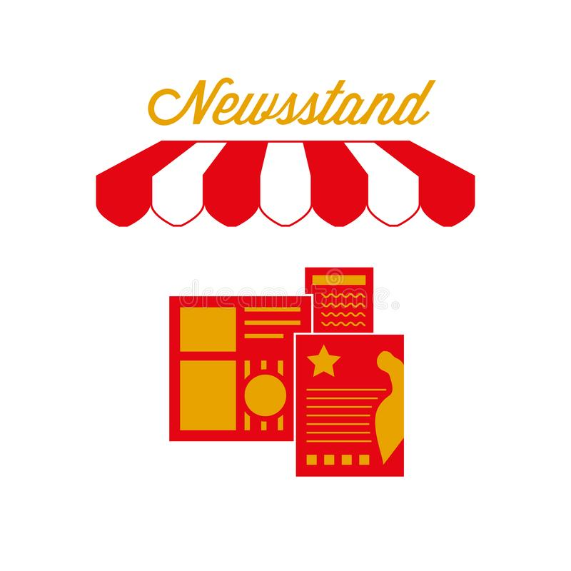 Newsstand Kiosk Street Stand Sign, Emblem. Red and White Striped Awning Tent. Vector Illustration. Newsstand Kiosk Street Stand Sign, Emblem. Red and White vector illustration