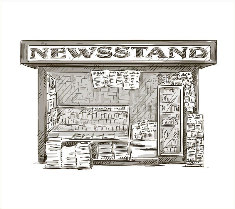 newsstand Kiosque tiré par la main de presse illustration libre de droits