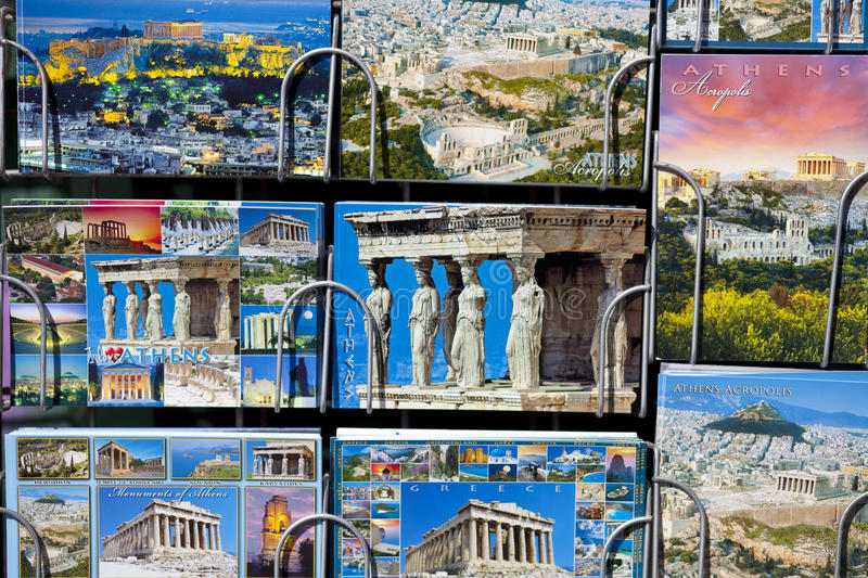Newsstand with Postcards from Greece. stock photography