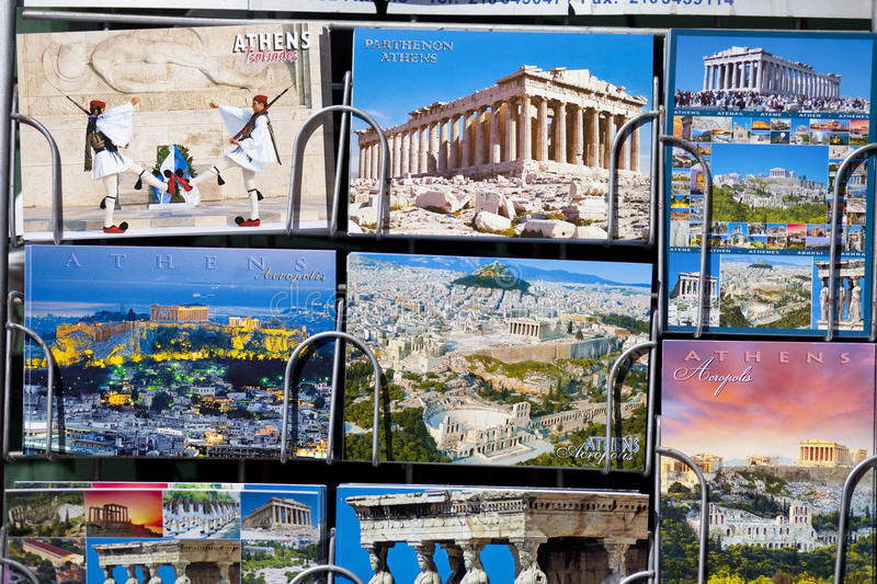 Newsstand with Postcards from Greece. royalty free stock images