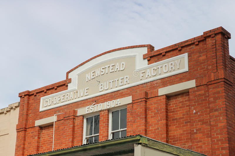 The Newstead Co-operative Butter Factory (1904) has been used as a cheese factory and candle factory. NEWSTEAD, VICTORIA, AUSTRALIA - April 27, 2016: The royalty free stock photo