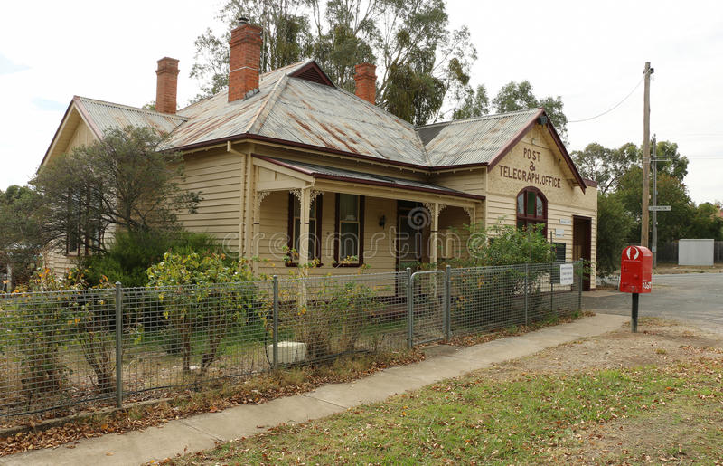 The Newstead Telegraph and Post Office (1863) still operates although telegraph operations ceased in 1934. NEWSTEAD, VICTORIA, AUSTRALIA - April 27, 2016: The royalty free stock image