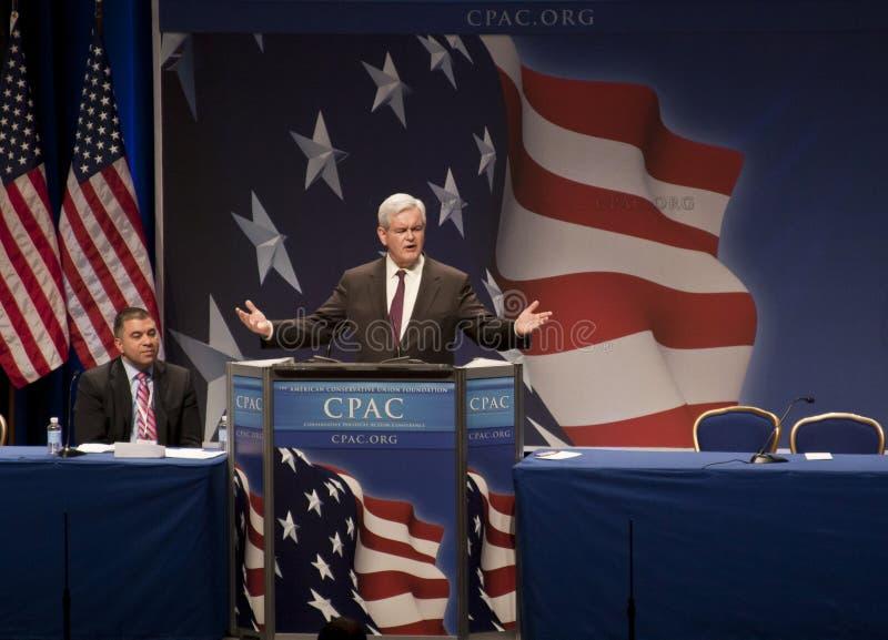 Newt Gingrich an CPAC 2011 lizenzfreie stockfotos