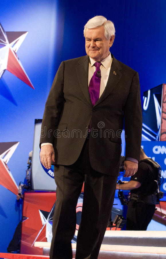 Newt Gingrich at GOP Debate 2012. Republican presidential hopefuls, Mitt Romney, Ron Paul, Newt Gingrich, and Rick Santorum, faced for the final debate on royalty free stock photos