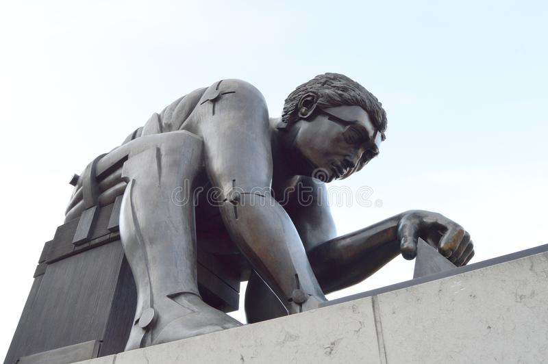 Newton Bronze Sculpture, Britse Bibliotheek, Londen royalty-vrije stock foto