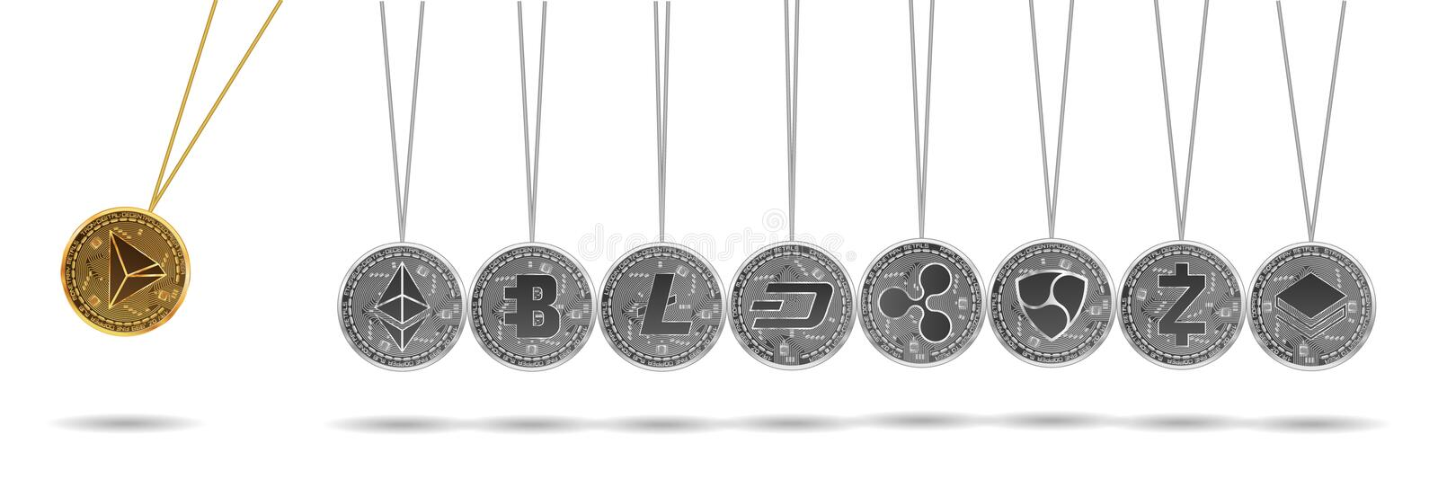 Newton cradle of gold and silver crypto currencies. Newton cradle made of gold tron and silver crypto currencies isolated on white background. Ripple accelerates royalty free stock photo