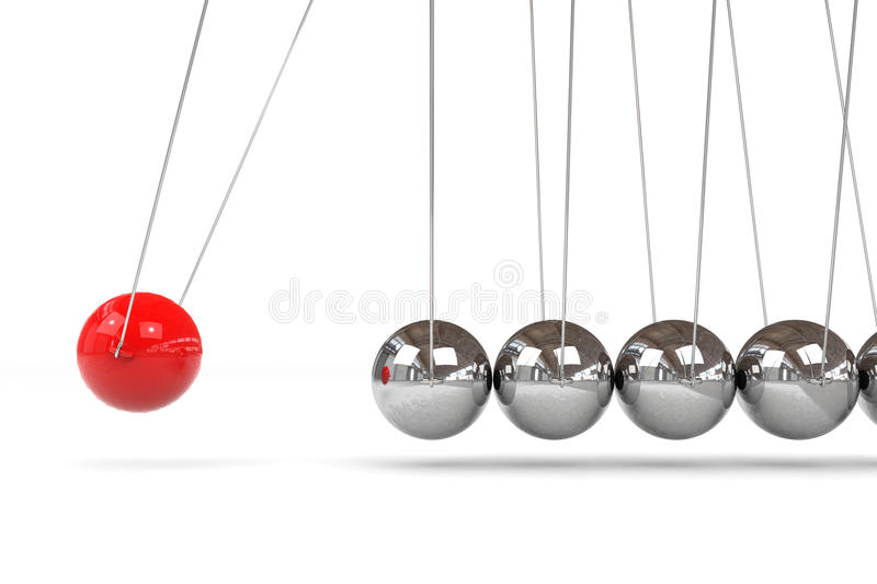 Newton cradle with one red ball. Computer generated image vector illustration