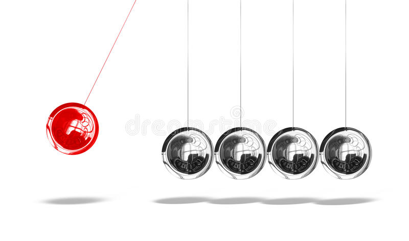 Newton cradle with one red ball. Isolated on white background stock illustration
