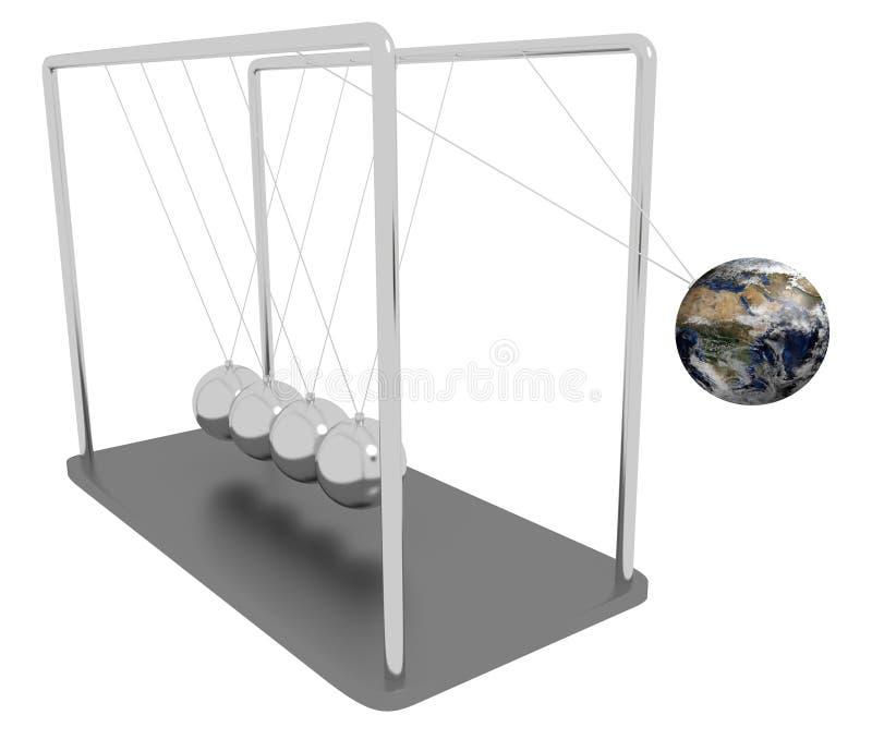 Newton kołyski ziemia ilustracji
