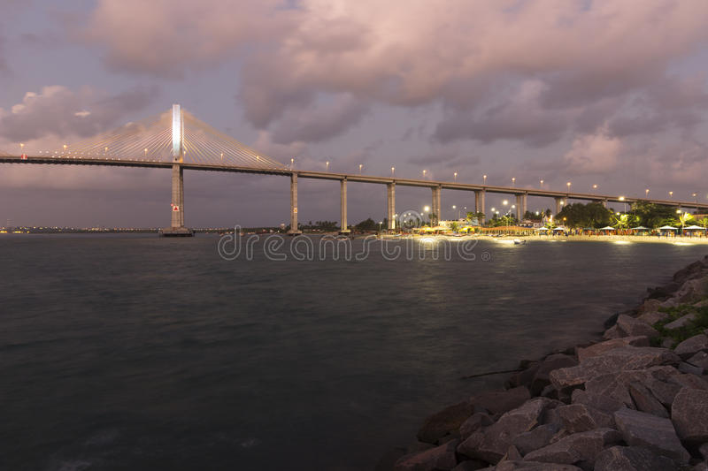 The Newton Navarro Bridge, Natal, RN, Brazil. The Newton Navarro Bridge, is one of the biggest cable-stayed bridges in Brazil. It is located in the city of Natal royalty free stock images