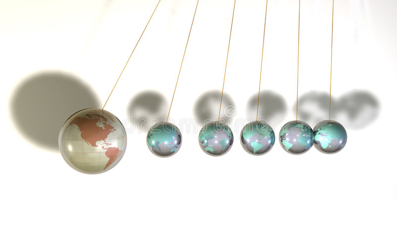 Newton's cradle. Six glass globe spheres hanging on the wires stock illustration