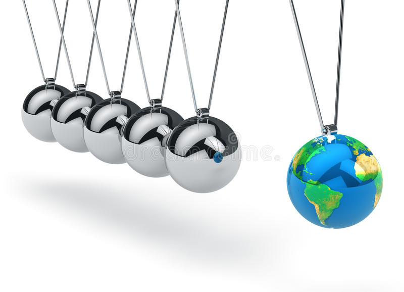 Download Newton's Cradle With Earth Globe Stock Illustration - Image: 26096773