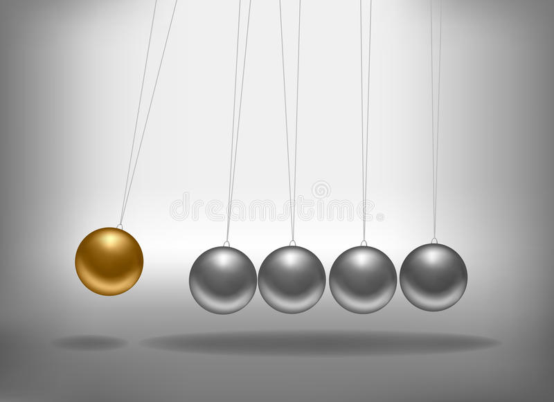 Download Newton's Cradle With A Gold Sphere. Stock Vector - Image: 20642530