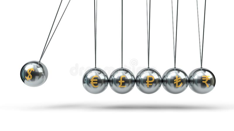 Newton`s Cradle silver balls and golden currency symbols. 3d illustration. Newton`s Cradle silver balls and golden currency symbols. suitable for finance royalty free illustration