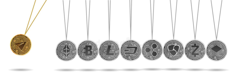 Newton vagga av crypto valutor för guld och för silver royaltyfri fotografi