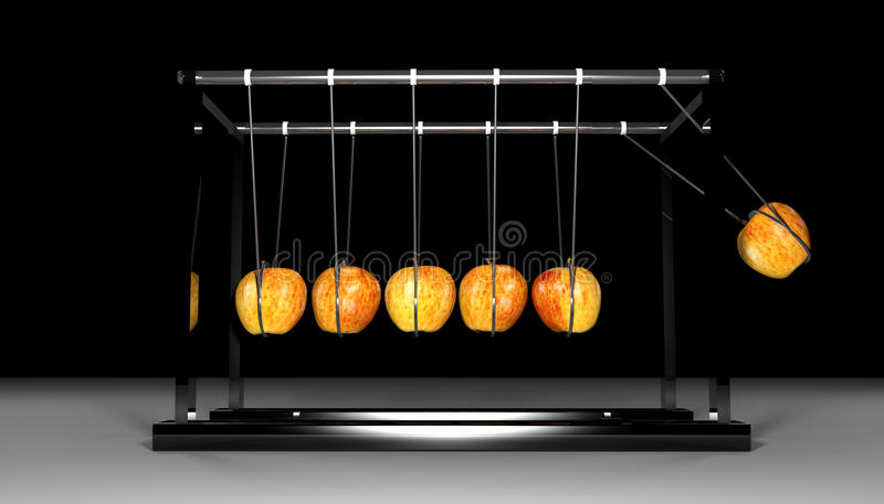 Download Newtons Cradle - Apples On Black Royalty Free Stock Image - Image: 32485816