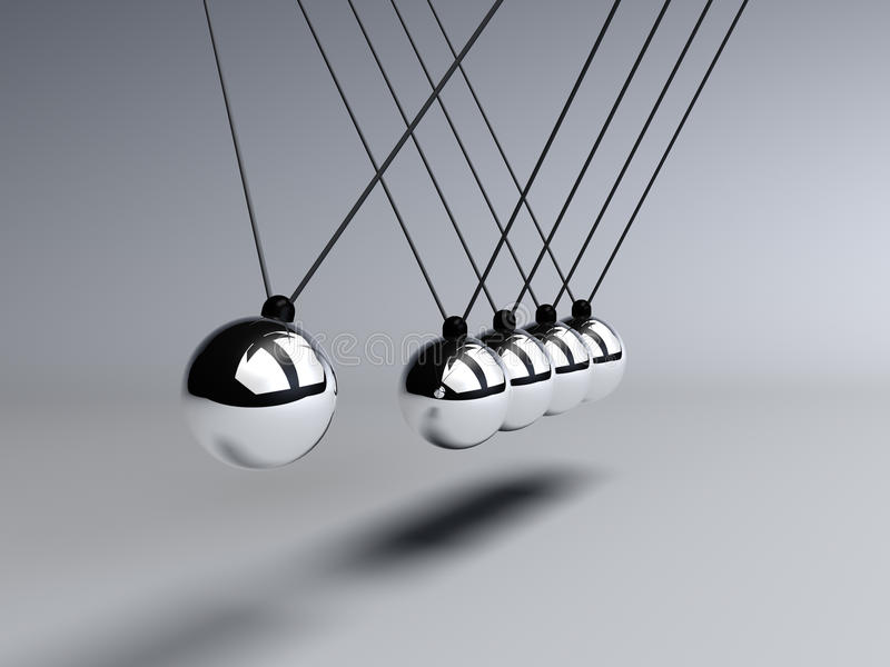 Download Newtons Cradle close up stock illustration. Illustration of cradle - 24160784