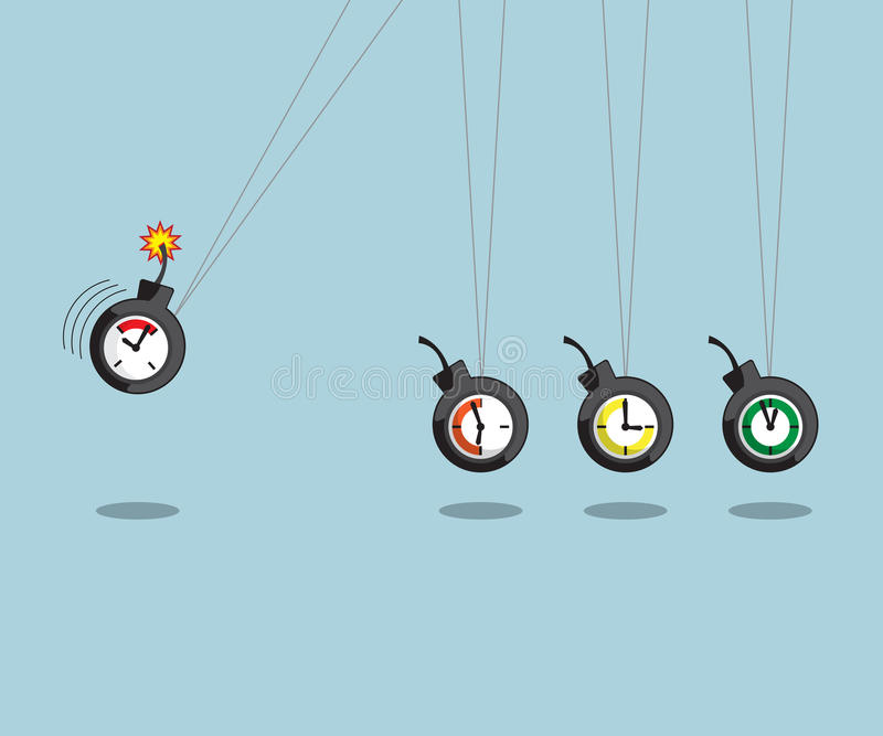 Newtons cradle with time bomb royalty free illustration