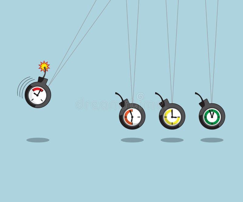 Newtonswieg met tijdbom royalty-vrije illustratie