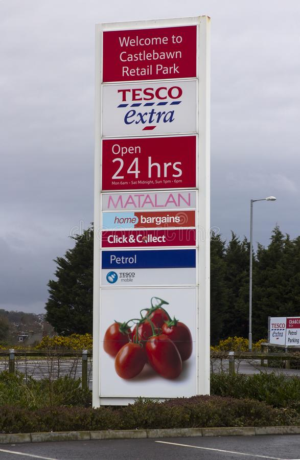 Newtownards County Down Ireland. A Large Tesco Extra advertising sign at the entrance to the modern Castlebawn retail park. 10 April 2018 Newtownards County Down royalty free stock photography