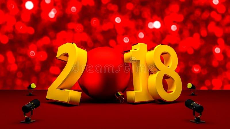 Newyear 2018 con una bola roja de la Navidad libre illustration