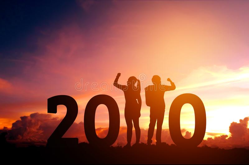 2020 Newyear  Couple celebration success of 2020 Happy new year concept stock photography