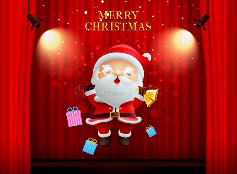 Newyear feliz de la Feliz Navidad de Papá Noel en fondo de etapa ilustración del vector