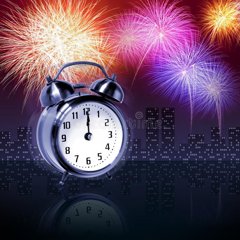 Download Newyear fireworks stock illustration. Image of clock - 17416262