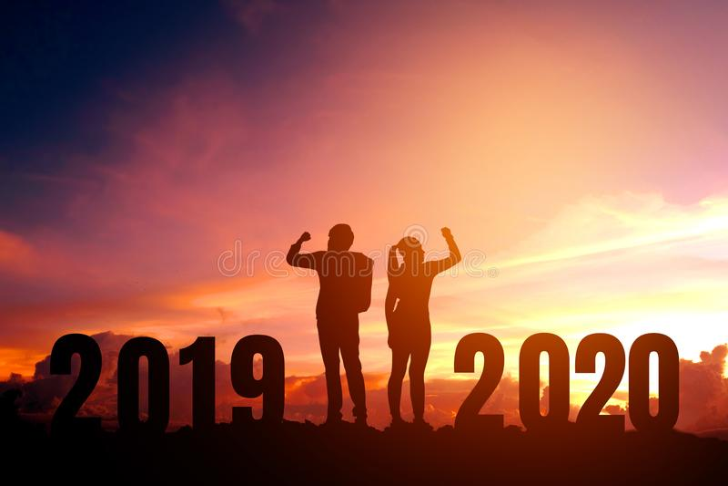 Newyear 2020 verbinden Feiererfolg des 2020-guten Rutsch ins Neue Jahr-Konzeptes stockfoto