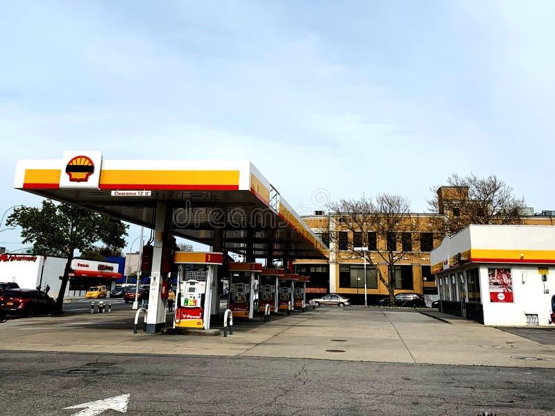 Newyork ,America - April 20 ,2020 : shell gas station. Shell gas station stock photography