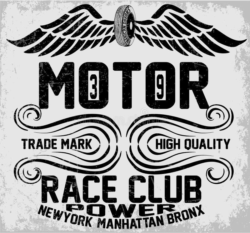 Newyork manhattan bronx motorcykeltypografi, t-skjorta diagram, stock illustrationer
