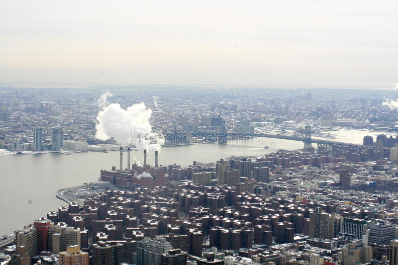 NewYork view. A landscape of NewYork: river and bridge form empire state building royalty free stock photography
