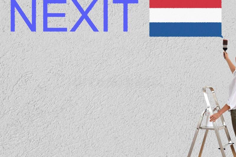 Nexit olandese di elezioni della pittura della donna su una parete illustrazione vettoriale