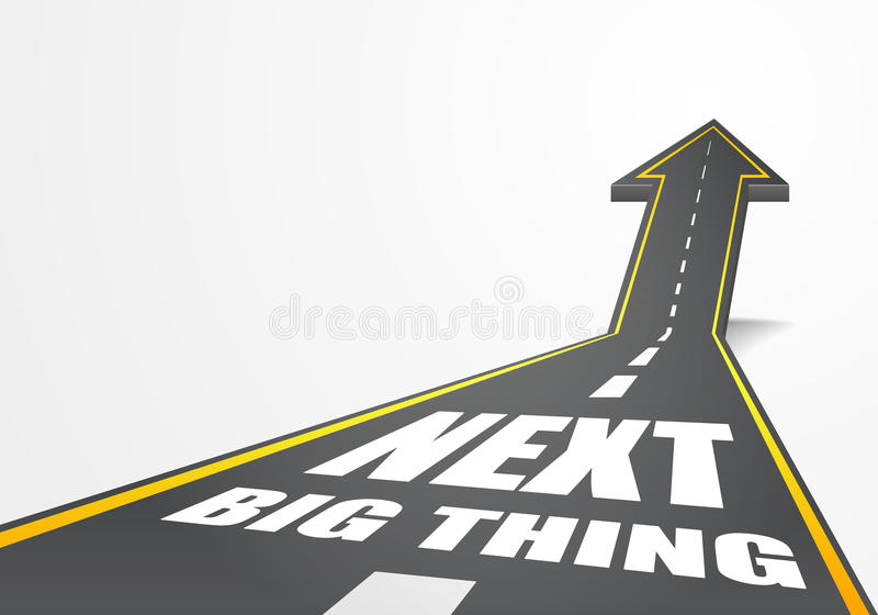 Next Big Thing. Detailed illustration of a highway road going up as an arrow with Next Big Thing text vector illustration