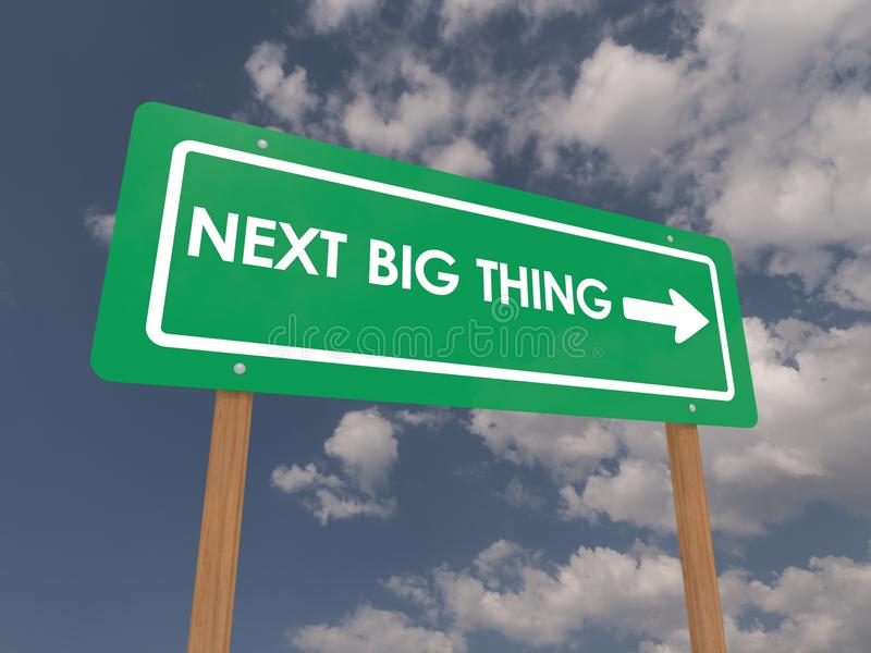 Next big thing sign. Green next big thing sign with directional arrow, blue sky and cloudscape background royalty free illustration