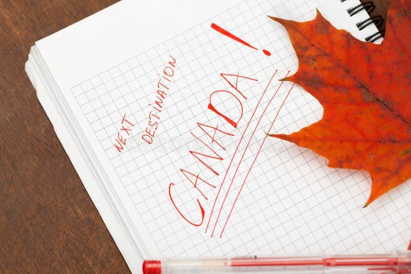 Next destination: Canada. Organizer with inscription about next destination stock photos