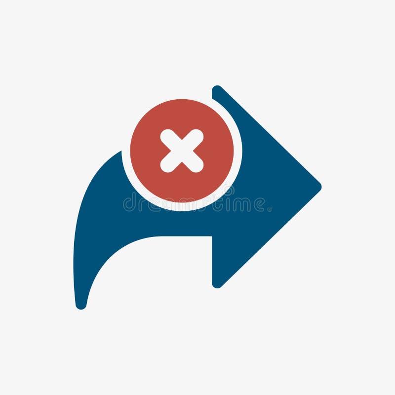 Next icon, arrows icon with cancel sign. Next icon and close, delete, remove symbol. Vector illustration vector illustration