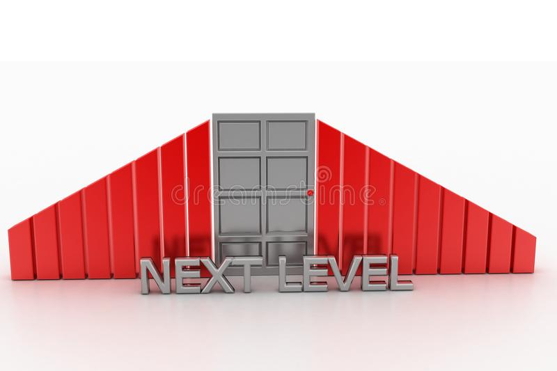 Next Level With Closed Door Stock Illustration