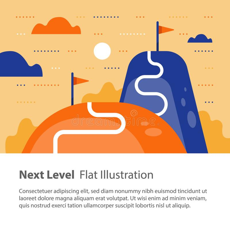 Way to success, next level concept, reach goal, higher and better, motivation and improvement, long term ambition stock illustration