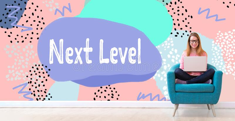 Next level concept with woman using a laptop royalty free stock images