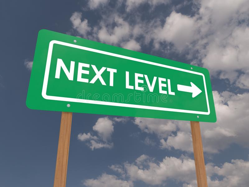 Next level sign. Business next level sign with directional arrow, blue sky and cloudscape background royalty free stock photography