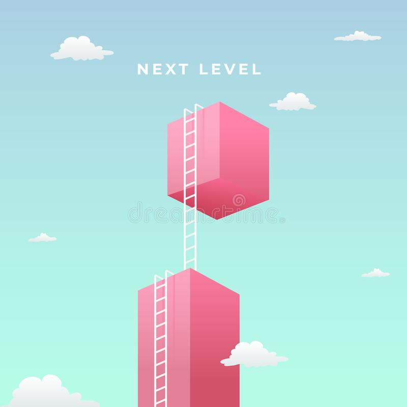 Next level to success visual concept design. double step climb the high giant wall towards the sky with tall ladder vector stock illustration