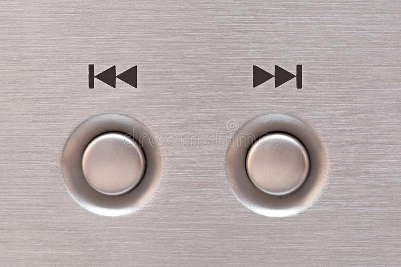Next and previous button. Of a CD player royalty free stock photo