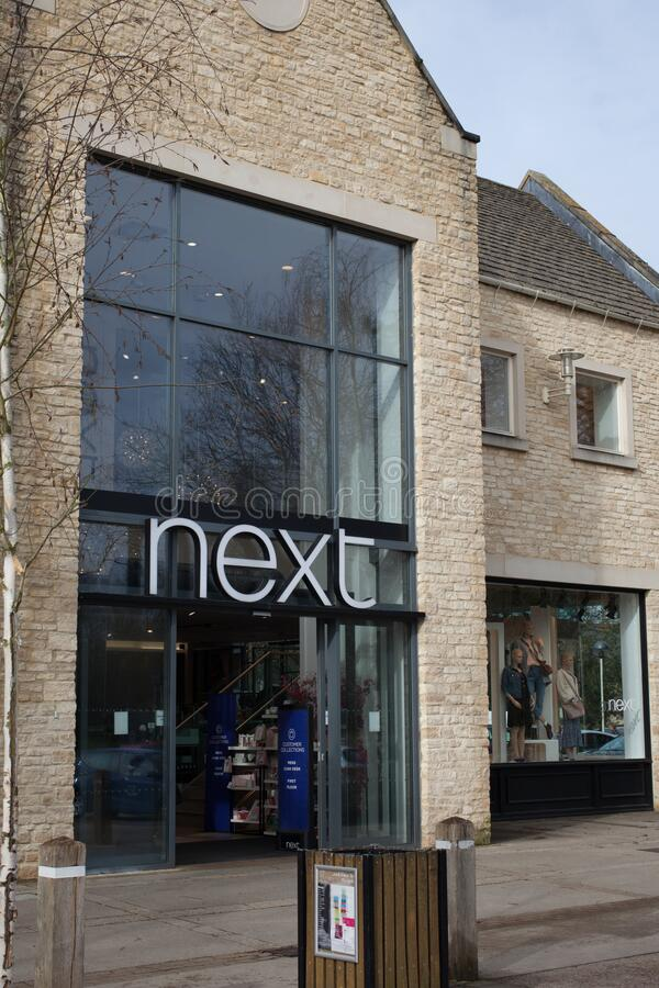 The Next retail store in Witney, Oxfordshire, UK. The entrance to the Next retail store in Witney, Oxfordshire, UK stock photography