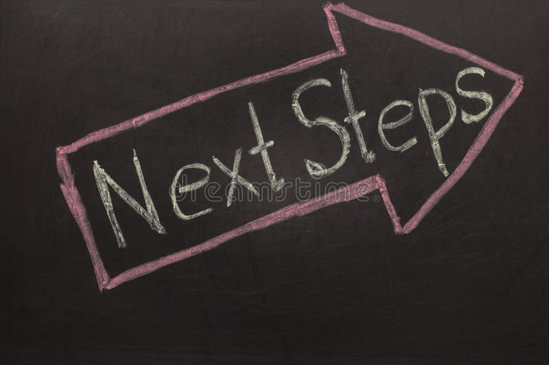 Next Steps - Chalkboard with arrow on black. Background stock photos