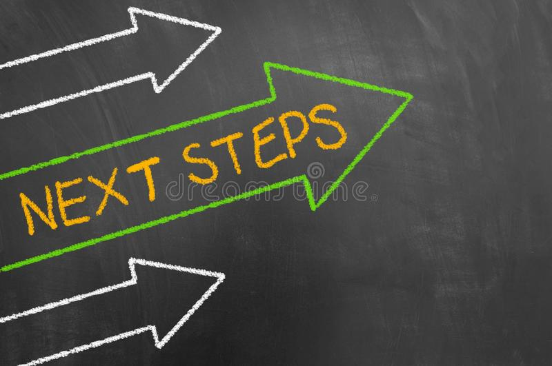 Next steps concept with chalk text and arrows on blackboard royalty free stock image