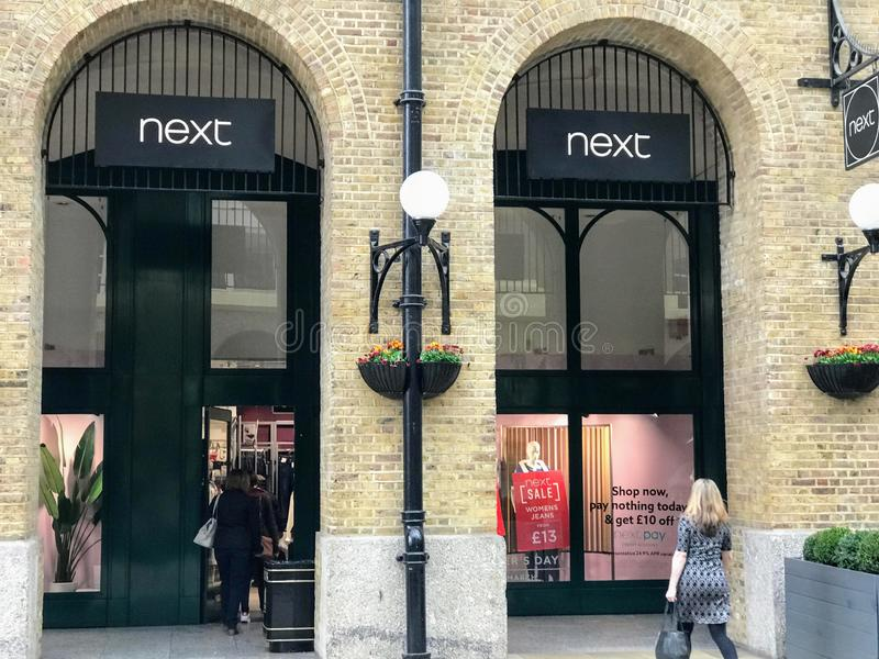 NEXT store. Next  LSE: NXT, styled as next, is a British multinational clothing, footwear and home products retailer headquartered in Enderby, Leicestershire stock photos