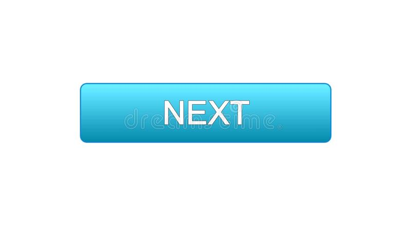 Next web interface button blue color, internet site design, online program. Stock footage vector illustration